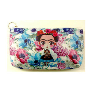Sweet Marigold Bags - Frida Kahlo Makeup Bag Purse Artist Blue Purple